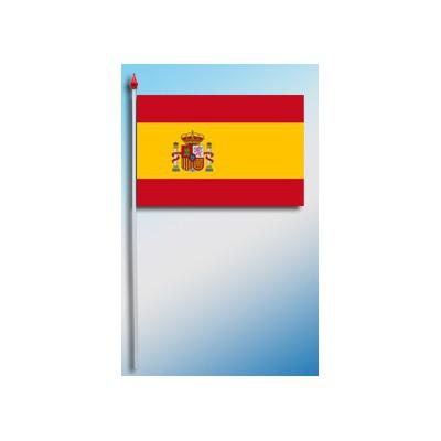 DRAPEAU PLASTIFIE 9.5X16CM Espagne avec armoirie