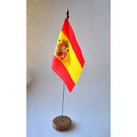 MINI DRAPEAU DE TABLE 10X14CM Espagne avec armoirie