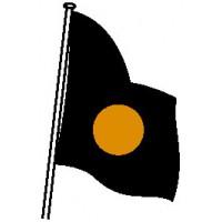 DRAPEAU DE COURSE NOIR disque orange