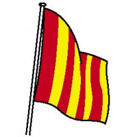 DRAPEAU DE COURSE JAUNE BANDES ROUGES
