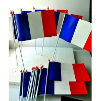 LOT DE 100 DRAPEAUX FRANCE - PAPIER 10x16CM